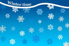 Winter time background. Background winter style with snowflakes Stock Photo