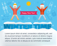 Winter time banner. Girl and boy jumping Stock Photography