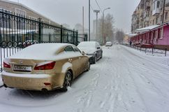 Winter time and car in snow. Tyumen. Russia Stock Photos