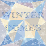 Winter time card background on the soft colored triangles polygo Stock Photos