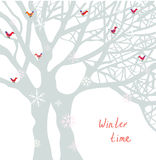 Winter time Christmas card with tree and birds Royalty Free Stock Photo