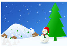 Winter time Christmas landscape with snowman Stock Photos