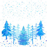 Winter time Christmas trees and snowfall watercolor hand painted. Stock Photo