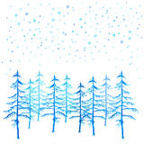 Winter time Christmas trees and snowfall watercolor hand painted. Royalty Free Stock Photos