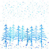 Winter time Christmas trees and snowfall watercolor hand painted. Stock Photos