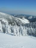 Winter time in the czech mountains stock image