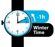 Winter time. Daylight saving time. Fall back watch icon. Stock Photography