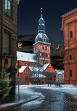 Winter time at Dome square in old Riga Royalty Free Stock Photos