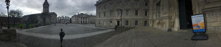 Panorama photograph of Dublin castle is which is a popular tourist destination in Ireland. This panorama was taken on a dark. Winter time in Dublin, specifically Royalty Free Stock Image