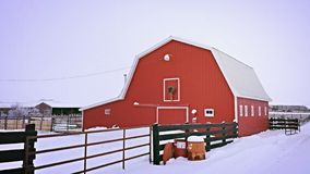 Winter time on the farm. A barn provides shelter for the animals on cold winter days Stock Images