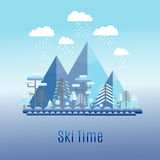 Winter time flat landscape. Ski resort. Royalty Free Stock Photography