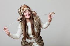 Winter time girl fashion. Stock Image