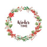 Winter Time handwritten lettering inside round frame or holiday wreath made of pine branches with cones, poinsettia and. Ilex or holly leaves. Christmas vector illustration