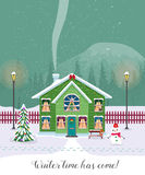 Winter time has come. Postcard with pretty houses in the snow. Decorated Christmas elements. Stock Photography