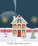 Winter time has come. Postcard with pretty houses in the snow. Decorated Christmas elements. Stock Images