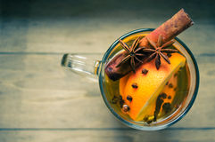 Winter time: hot wine with spices Royalty Free Stock Photography