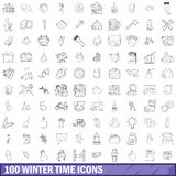 100 winter time icons set, outline style Stock Image