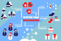 Winter time infographic. Icons set Stock Images