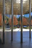 Winter time in Klyde Warren Park in Downtown Dallas. View of the performance pavilion in the popular Klyde Warren Park in Downtown Dallas Stock Image