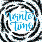 Winter time lettering design. Vector illustration, blue letters with christmas tree branches frame background. Happy New Year and. Merry Christmas Seasonal Sale Vector Illustration
