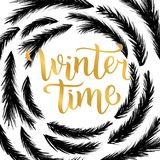 Winter time lettering design. Vector illustration, gold letters with christmas tree branches frame background. Happy New Year and. Merry Christmas Seasonal Sale Vector Illustration
