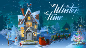 Winter time. Night of Christmas, the Family house before a holiday. An illustration for card. New Year`s poster Stock Photo