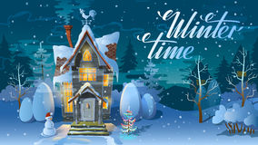 Winter time. Night of Christmas, the Family house before a holiday. An illustration for  card. New Year`s poster Royalty Free Stock Images
