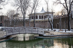 Winter Time at the Park of Gulhane,Istanbul. Winter Time at the Famous Park of Gulhane, at the Istanbul European side in winter time. Old Alay Mension with Walls Royalty Free Stock Photo