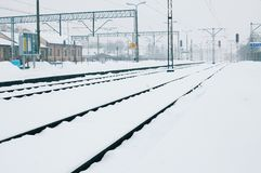 Winter time - railway line Stock Photography