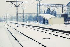 Winter time - railway line Royalty Free Stock Images