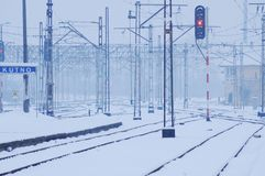 Winter time - railway line Royalty Free Stock Photography