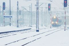 Winter time - railway line Stock Photo