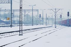 Winter time - railway line Royalty Free Stock Photo