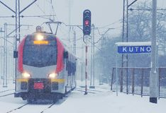 Winter time - railway line Stock Image