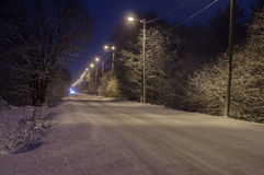 Winter-time rural road Royalty Free Stock Photo