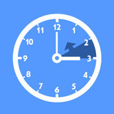 Winter time. Standard time without offset for daylight saving time. Dial with arrow symbolizing shift of hours. Simple colorful flat design vector Stock Image