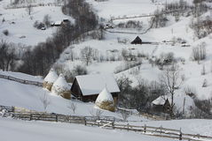 Winter time in the village Stock Images