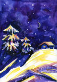 Winter time. Watercolor night background. House, stars and moonin the woods. Stock Photo