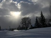 Winter time with a wonderful sky royalty free stock photo