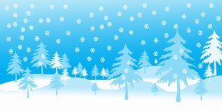 Winter times. Trees and snow flakes in blue and white Royalty Free Stock Photography