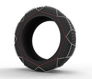 Winter tire. 3d render of winter tire chains Royalty Free Stock Image