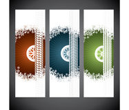 Winter tire advertising label set of three with snowflakes Royalty Free Stock Photography