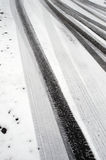 Winter tire marks Royalty Free Stock Image