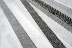 Winter tire marks Royalty Free Stock Photography