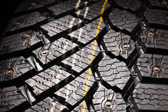 Winter tire protector with studs Stock Photo