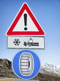 Winter tire road sign Stock Photography