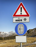Winter tire road sign Royalty Free Stock Images