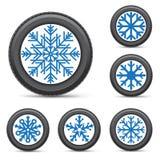 Winter tire snowflake rim Royalty Free Stock Image