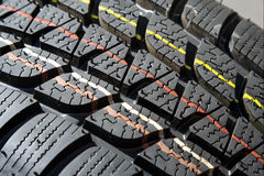 Winter tire tread Stock Photos