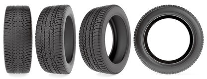 Winter tires in different angles. On the white background vector illustration